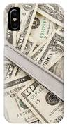 Adjustable Wrench On Pile Of Money IPhone Case