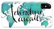 Adventure Awaits - Travel Quote On World Map IPhone Case