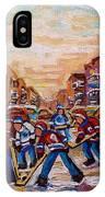 After School Winter Fun Street Hockey Paintings Of Montreal City Scenes Carole Spandau IPhone Case