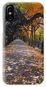 Alley With Falling Leaves In Fall Park IPhone Case