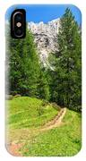 alpine path in Contrin Valley IPhone Case