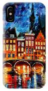 Amsterdam-canal - Palette Knife Oil Painting On Canvas By Leonid Afremov IPhone Case