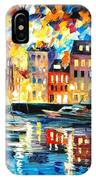 Amsterdam's Harbor - Palette Knife Oil Painting On Canvas By Leonid Afremov IPhone Case