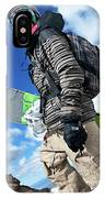 An Extreme Snowboarder Stands IPhone Case
