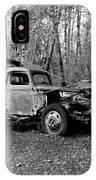 An Old Logging Boom Truck In Black And White IPhone Case