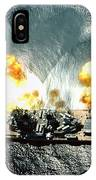 An Overhead View Of The Battleship Uss Iowa Bb61 Firing All 15 Of Its Guns IPhone Case