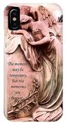 Angel Art - Memorial Angel Weeping Sorrow At Grave With Inspirational Message - Memories Are Forever IPhone Case