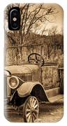 Antique Car At Service Station In Sepia IPhone Case