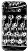 Antique Keyboard - Bw IPhone Case