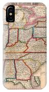 Antique Map Of The United States 1848 IPhone Case