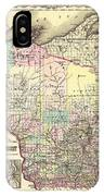 Antique Map Of Wisconsin 1855 IPhone Case