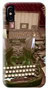 Antique Oliver Typewriter On Old West Physician Desk IPhone Case