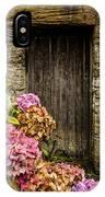 Antique Wooden Door And Hortensia IPhone Case