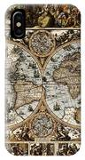 Antique World Map Circa 1670 II IPhone Case