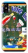 Apportez  Votre Vin Vintage French Bistro Signage Paris Style Menu Poster Decor Painting Cspandau IPhone Case
