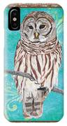 Aqua Barred Owl IPhone Case
