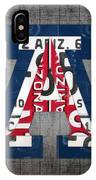 Arizona Wildcats College Sports Team Retro Vintage Recycled License Plate Art IPhone Case