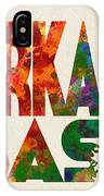 Arkansas Typographic Watercolor Map IPhone Case