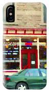 Aromate Resto Cafe Rue St Jacques St Henri  Montreal Urban Food City Scenes Carole Spandau IPhone Case