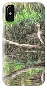 Artistic Drying Cormorant- Black Bird Sitting On Log Over Water IPhone Case