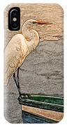 Artistic Egret And Boat IPhone Case