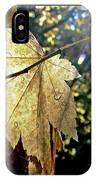 Autumn Light On Leaf IPhone Case