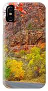 Autumn On Zion Canyon Scenic Drive In Zion National Park-utah  IPhone Case