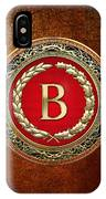 B - Gold Vintage Monogram On Brown Leather IPhone Case