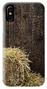 Bale Of Straw And Wooden Background IPhone Case