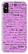 Ballet Terms Black On Pink  IPhone Case