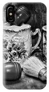 Barber - Shaving Mugs And Brushes In Black And White IPhone Case