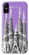Barcelona Skyline La Sagrada Familia - Violet IPhone Case