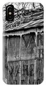 Barn Ghost Sign In Bw IPhone Case