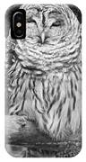 Barred Owl In Black And White IPhone Case