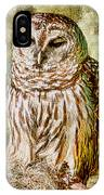 Barred Owl On Moss IPhone Case