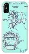 Baseball Mask Patent Blue Us2627602 A IPhone Case