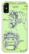 Baseball Mask Patent Green Us2627602 A IPhone Case