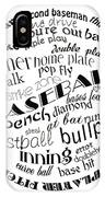 Baseball Terms Typography Black And White IPhone Case