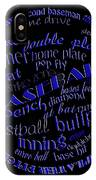 Baseball Terms Typography Blue On Black IPhone Case