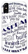 Baseball Terms Typography Blue On White IPhone Case