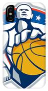 Basketball Player Holding Ball Crest Retro IPhone Case