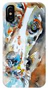 Basset Hound - Watercolor Portrait.1 IPhone Case