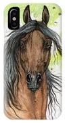 Bay Arabian Horse Watercolor Painting  IPhone Case