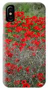 Beautiful Red Wild Anemone Flowers In A Spring Field IPhone Case
