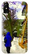 Beautiful Yellow Staircase Verdun Snow Scene Montreal Art Colors Of Quebec Carole Spandau IPhone Case