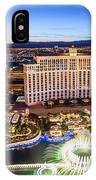 Bellagio Rountains From Eiffel Tower At Dusk IPhone Case