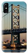 Ben Franklin Bridge Over Delaware River IPhone Case