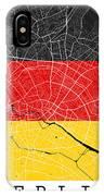 Berlin Street Map - Berlin Germany Road Map Art On German Flag Background IPhone Case