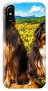 Bernese Mountain Dog And Leonberger Among Wildflowers IPhone Case