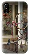 Bicycle Attached To Wall Outside Of Fast Food Restaurant IPhone Case